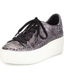 Cult Embossed-Leather Platform Sneakers