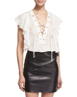 Gilka Printed Lace-up Top