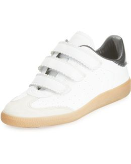 Beth Pinked-trim Leather Grip-strap Sneaker