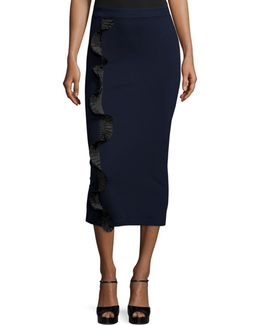 Stretch Ruffle-trim Midi Skirt