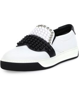 Karlito Beaded-Top Leather Slip-on Sneaker