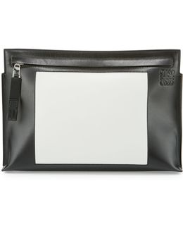 Colorblock Leather T Pouch