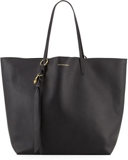 Skull Open Leather Shopper Tote Bag