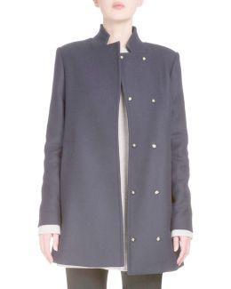 Wool-blend Back-tie Swing Coat