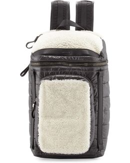 Quilted Nylon Backpack W/shearling Trim