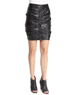 July Ruched Faux-leather Skirt