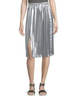 Madlen Pleated Metallic Midi Skirt