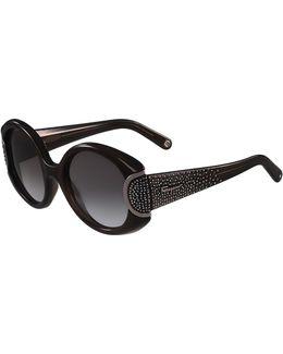 Round Gradient Rhinestone Sunglasses
