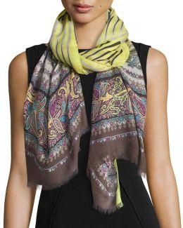 Wool-blend Stripe & Paisley Scarf