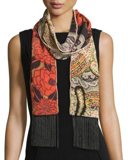 Silk Floral & Paisley Fringe Scarf