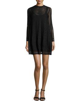 Long-sleeve Jewel-neck Mini Dress