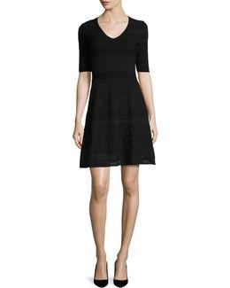 Short-sleeve Mix-stitched A-line Dress
