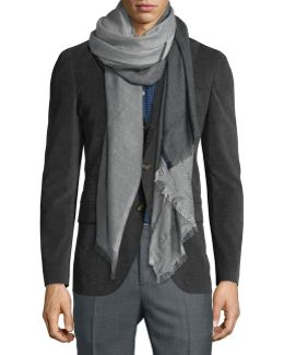 Men's Large Windowpane Cashmere-blend Scarf