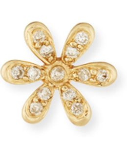 14k Gold Daisy Stud Earring With Diamonds