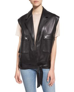 Oversized Leather Snap-front Vest
