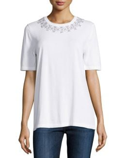 Embellished-collar Short-sleeve Tee