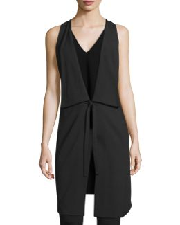 Draped Deep V-neck Tie-front Vest