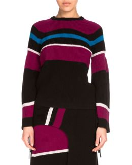 Ribbed Striped Wool Sweater