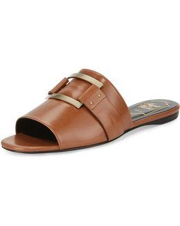 Square-buckle Flat Slide Sandal