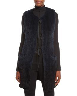 Jill Long Ribbon-tie Rabbit Fur Vest