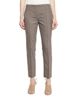 Karis Plaid Stretch-wool Slim Trousers