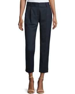 Edie Tapered Gabardine Ankle Pants