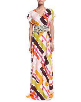 Parioli-print Coverup Maxi Dress W/tie