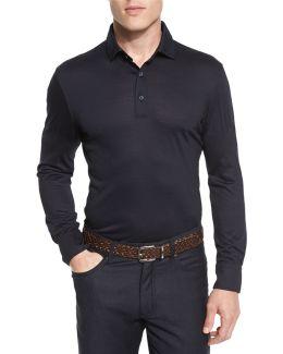 High-performance Merino Wool Long-sleeve Polo Shirt
