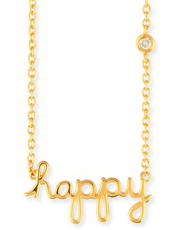 Happy Pendant Diamond Bezel Necklace