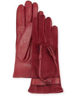 Leather & Suede Tassel Gloves