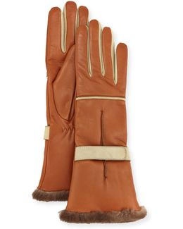 Leather Fur-trim Gloves
