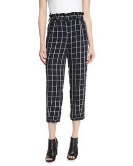 Fritz Cropped Paperbag-waist Check Pants