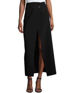 Ferdi Long Crepe Skirt W/ Thigh-high Slit