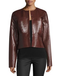 Nim Collarless Coated Leather Jacket