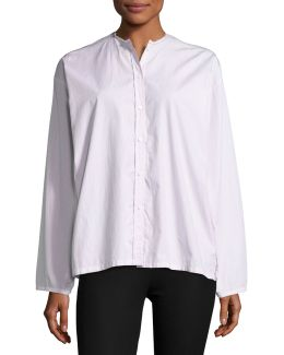 Albane Collarless Striped Cotton Button-down Shirt
