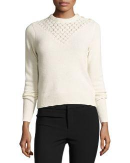 Pointelle-yoke Pullover Sweater