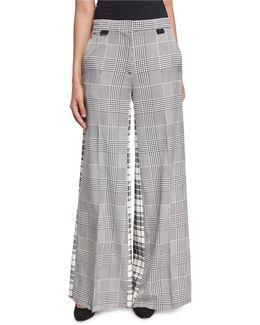 Wide-leg Mixed-plaid Silk Pants