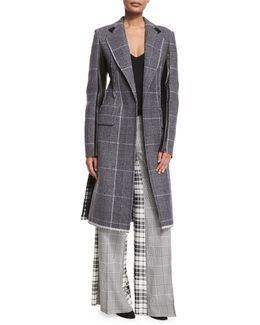 Mixed-plaid Wool Coat W/leather Trim