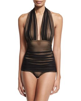 Bill Ruched-mesh Halter Maillot Swimsuit