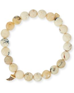 8mm Opal Beaded Bracelet W/14k Diamond Horn Charm