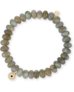 8mm Labradorite Bead Bracelet W/14k Gold Diamond Disc Charm