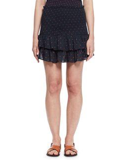 Malfos Tiered Polka-dot Flounce Skirt