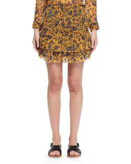 Brinley Tiered Floral Silk Skirt