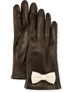 Leather Bow-cuff Gloves