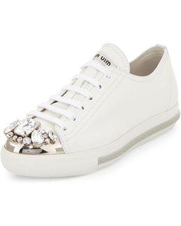 Jeweled Cap-toe Leather Sneaker