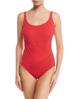 Landscape Solid One-piece Swimsuit
