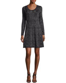 Long-sleeve Zigzag Lurex® A-line Dress