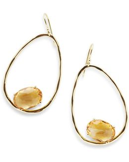 18k Rock Candy Tipped Oval Wire Earrings