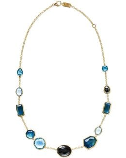 18k Rock Candy Mixed-set Necklace In Steel Blue