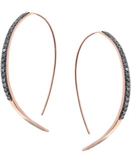 Reckless Rose Thread-through Hoop Earrings With Black Diamonds
